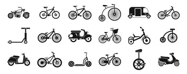 Bike icon set, simple style