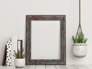 Mock up empty rustic frame, 3d render, 3d illustration Wall mural