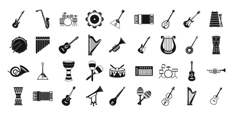 Musical instrument icon set, simple style