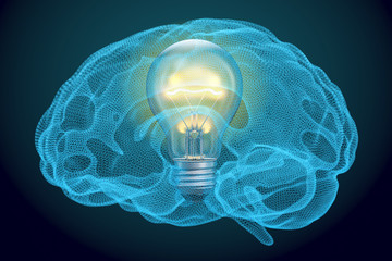 Light bulb inside brain, idea concept. 3D rendering