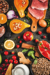 Healthy diet background. Organic food ingredients, superfoods: beef and pork meat, chicken filet, salmon fish, beans, nuts, milk, eggs, fruits, vegetables. Black stone table, copy space top view