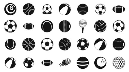 Ball icon set, simple style