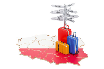 Poland travel concept. Polish flag on map with suitcases and signpost, 3D rendering
