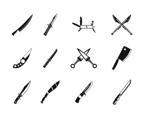 Knife icon set, simple style