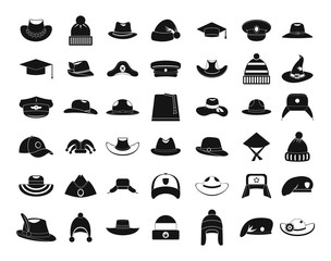 Hat icon set, simple style