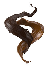 Wall Mural - 3d render, abstract liquid, milk and dark chocolate, butter, splash, twisted wavy jets, ingredients set, isolated splashing clip art