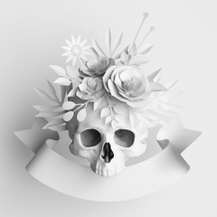3d render, white floral skull, paper flowers crown, Halloween background, poster template