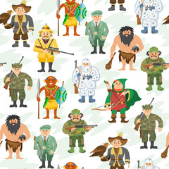 Hunters vector illustration cartoon style different gear huntsman characters aiming man people seamless pattern background