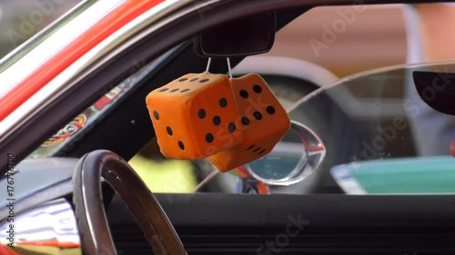 Muscle Car Orange Fuzzy Dice In The Mirror 4k Stock Footage And