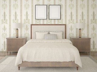 Mock up a modern bedroom with a comfortable large bed in the background of stylish wallpaper.