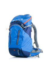 Image of blue backpack on white background
