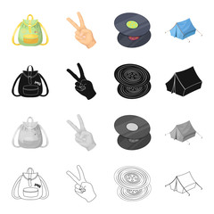 Happy, image, lifestyle, and other web icon in cartoon style.Backpack, handles, pocket icons in set collection.