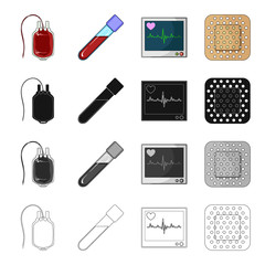Dropper, container, blood and other web icon in cartoon style. Hospital, treatment, prevention icons in set collection.