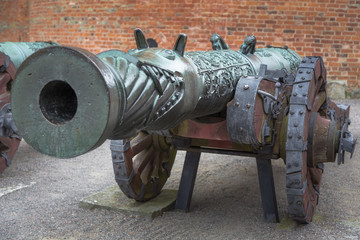 One of the two antique cannons