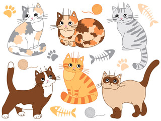 Vector Set with Various Cats