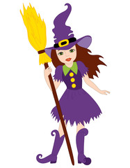 Vector Halloween Witch with Broomstick