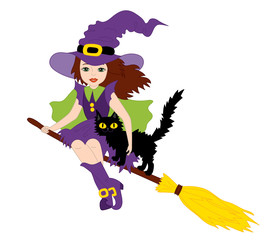Vector Halloween Witch with Cat Flying on Broomstick