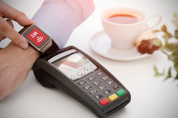 Mobile payment in cafe with smart watch