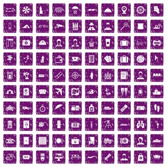 100 passport icons set grunge purple