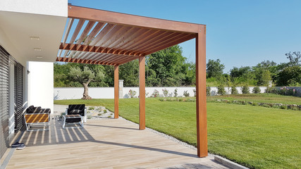 Pergola on prefabricated passive house