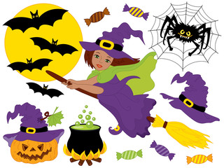 Vector Halloween Set with African American Witch, Moon, Spider, Pumpkin and Bats