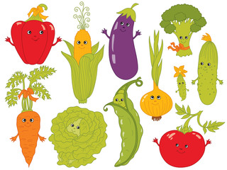 Vector Cartoon Vegetables with Smiley Faces
