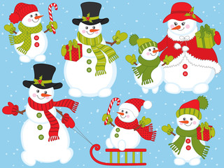 Vector Christmas and New Year Set with Snowmen