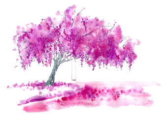Blossom cherry tree,lake and swing. Spring landscape. Watercolor hand drawn illustration.