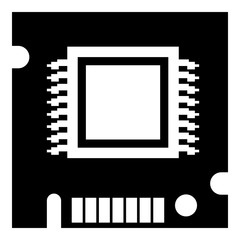 Integrated microchip icon, simple black style