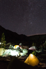 Group of tents at night under a starry sky in the Sierra Nevada