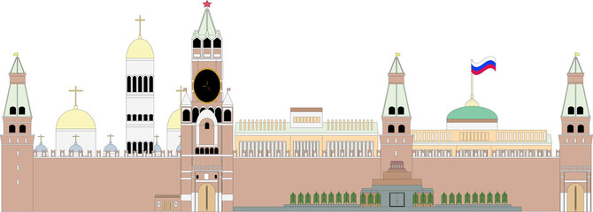 Kremlin.Moscow monuments. Vector illustration