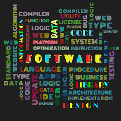 The word cloud of the software as background