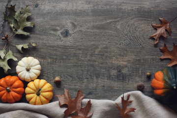 Thanksgiving season still life with colorful small pumpkins, acorn squash, soft blanket and fall leaves over rustic wooden background