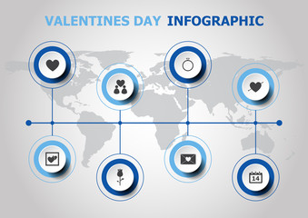 Infographic design with Valentines day icons
