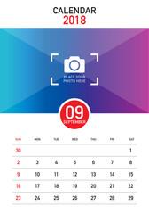 September 2018 desk calendar vector illustration