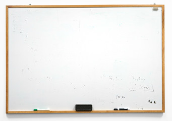 Dirty white board isolated on white background