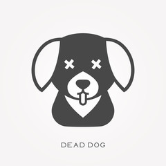 Silhouette icon dead dog