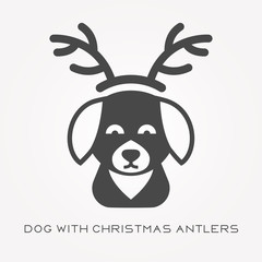 Silhouette icon dog with christmas antlers