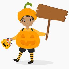 Halloween cartoon vector. African American boy wearing pumpkin costume for Halloween party, carrying pumpkin bucket and holding an empty wooden sign