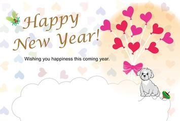 可愛い犬とピンクの風船とハート模様のイラストの年賀状テンプレート