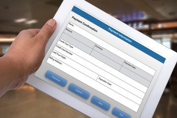 Wall Mural - Electronic payment form on tablet computer.