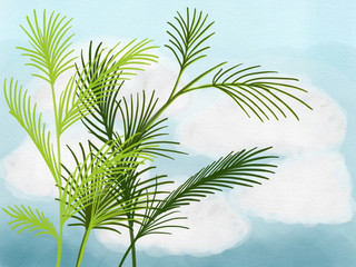 Colorful hand drawn abstract silhouette of green palms on the blue sky background, colorful nature illustration painted by watercolor, pen and pencil chalk, high quality