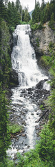 Portrait of British Columbia Waterfall Framed with Green Foliage