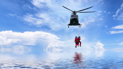 concept for Rescue helicopter in mission sea rescue .