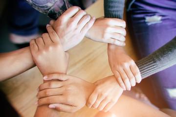 Teamwork Join Hands Partnership Concept  . Diverse Group of People Hands Together Partnership Teamwork .