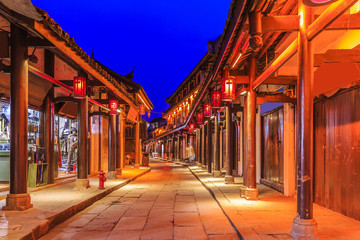 Beautiful night view of ancient town of Sichuan