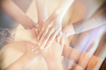 Double exposure of Team Teamwork Join Hands Partnership Concept .