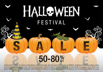 Vector illustration of a Banner for  halloween Sale