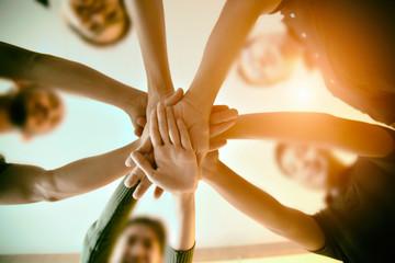 Team Teamwork Join Hands Partnership Concept . Wall mural