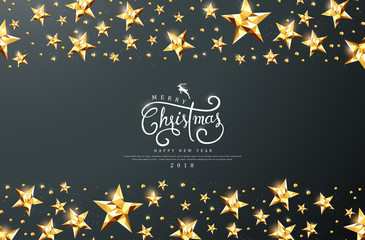 Merry christmas calligraphic text with golden star background.Vector illustration template.greeting cards.